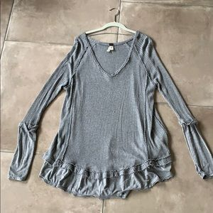 Free People Gray v-neck thermal tunic